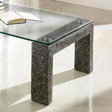 Glas Wohnzimmertisch Glas Couchtisch Arianno In Grau Mit Stein Pharao24 De