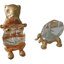pair of swarovski trimlite crystal animals turtle beaver sold on