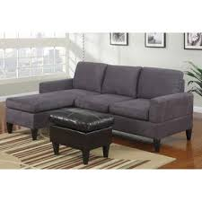 Microfiber Reversible Chaise Sectional Sofa Poundex 3 Pc Grey Microfiber Small Space Sectional Sofa With