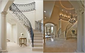 Stair Banister Rails Black Paint Banister Rail Curved Stair With Rounded Marble Top