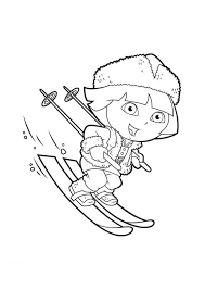 dora the explorer winter coloring page winter coloring pages of