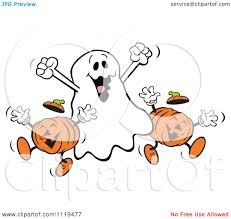 cartoon of a happy halloween ghost with jackolanterns royalty