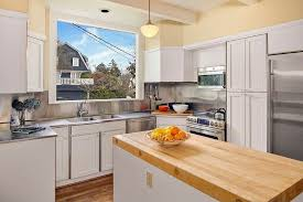 Stainless Steel Kitchen Pendant Light by Traditional Kitchen With Wood Counters U0026 Pendant Light In Seattle