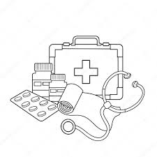 coloring page outline of medical instruments medical logo u2014 stock