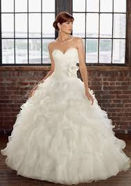 white wedding dress ruffled organza wedding dress accented with flower style 4816