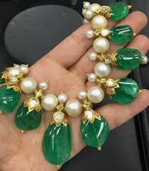 gorgeous indian emerald necklace with pearls jewellery