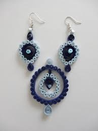 quilling earrings set blue paper quilled earring pendant set all handmade jewelry