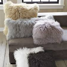 White Fur Cushions Mongolian Lamb Cushion Cover Stone White 61 Cm Sq West Elm Uk