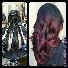 black hair to raspberry hair joico lumishine balayage magenta hair chocolate raspberry get