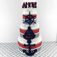 Ahoy It s A Boy Themed 3 Layer Nautical Diaper Cake Centerpiece