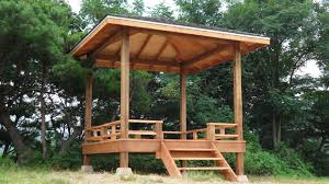 Portable Patio Gazebo by Portable Brown Wooden Patio Canopy With Short Stair Elegant