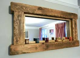 Wooden Bathroom Mirror Unfinished Wood Framed Bathroom Mirrors Wall Distressed Wooden