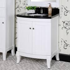 27 Inch Bathroom Vanity Country Style 27 Inch Black Granite Top White Single Sink Bathroom