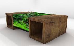 modern small table aquarium design on the grey floor can add the