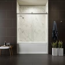 Frameless Photo Kohler Levity 60 In X 62 In Semi Frameless Sliding Tub Door In