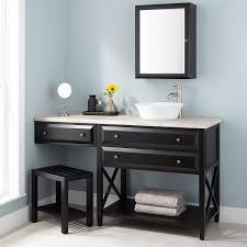 Glympton Vessel Sink Vanity With Makeup Area Black Bathroom - Black bathroom cabinet with sink