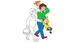 caillou coloring page 3 caillou and his family are going to