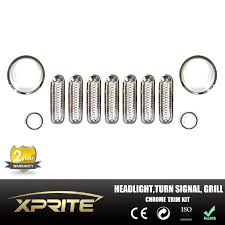 jeep grill logo angry 11pc jeep wrangler jk silver headlight trim front mesh grill