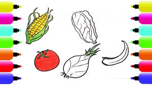 how to draw fruits and vegetables coloring pages video for kids