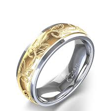mens gold wedding band scroll and leaf design carved men s wedding ring in 14k two tone