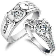 couples ring sets 925 sterling silver zircon diamond personalized wedding rings set