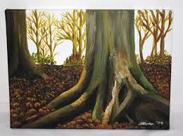 woodland painting 30x40cm box canvas