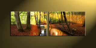 2 piece colorful forest scenery canvas art prints