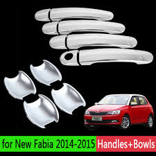 Chrome Exterior Door Handles Sale For Skoda Fabia New Fabia 2007 2015 Luxurious Chrome