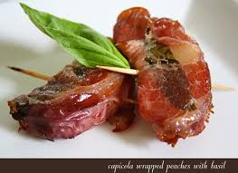 spicy capicola wrapped peaches with basil u2022 steele house kitchen