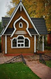 Modern Traditional House Modern Wooden Russian Traditional House In Autumn Stock Photo