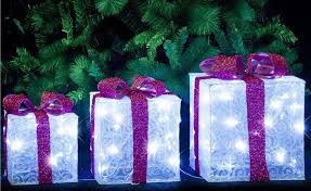 christmas present light boxes led organza glitter presents set of 3 white outdoor christmas