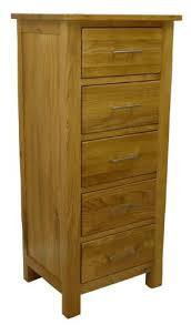 Tall Boy Table Oakland Solid Chunky Oak Bedside Cabinet 5 Drawer Lamp Table