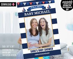 nautical boy baby shower photo booth prop frame template printable