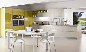 Modern L Shaped Kitchen With Island by Colorful Kitchen Designs With Gloss Yellow And Light Gray With