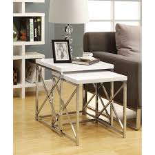 How To Use Accent Chairs Use This Set Of 2 Gloss White Chrome Metal Nesting Tables In A