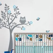 cartoon owl tree bird animal flowers wall sticker decal mural