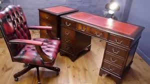 Yew Filing Cabinets Twin Pedestal Writing Desk Mahogany Antique Style Captains Chair