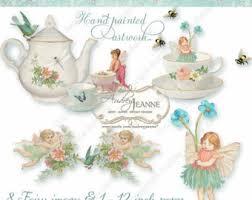 watercolor tea party clipart teacup teapot shower invitation