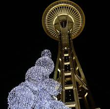 rocket to the top of the space needle for the holidays
