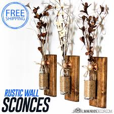 Wall Sconces Rustic Shop Makarios Rustic Wall Sconces Reclaimed Wood Wall Sconces