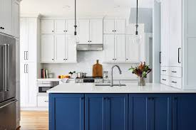 blue kitchen island and white cabinets what s trending in kitchen design
