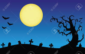 halloween night scene with the moon and the silhouette of a bat