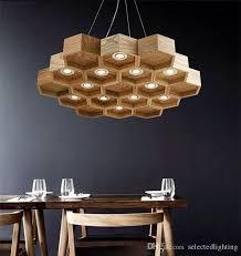 Wooden Light Fixtures Loft Wood Pendant L Honeycomb Chandeliers Nordic Antique Wooden