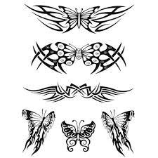 tribal butterfly tattoos design set