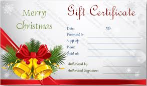 options for bells gift certificate template