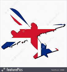 British Flag With Red Plane Silhouette With British Flag Illustration
