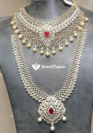 indian bridal jewelry necklace images Bridal diamond necklace and haram set jpg