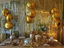 gold party decorations dough and batter 50th solid gold disco party dessert bar