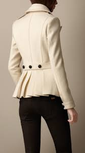 burberry wool cashmere pea coat in beige natural white lyst