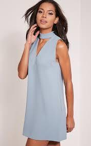 cinder dusty blue cut out neck shift dress style pinterest